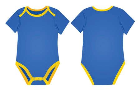 Blue baby boy bodysuit. vector illustration