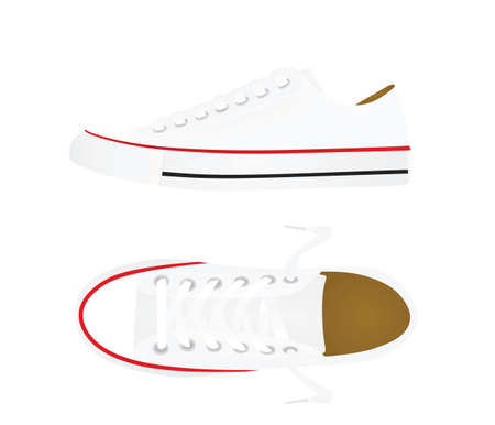 White canvas sneakers. vector illustration