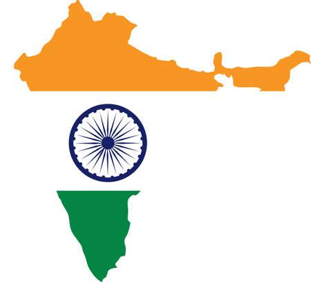 India flag map. vector illustration