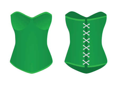 Women green corset . vector illustration