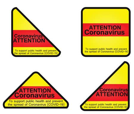 Coronavirus attention sign. vector illustration