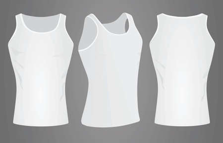 White sleeveless t shirt. vector illustration