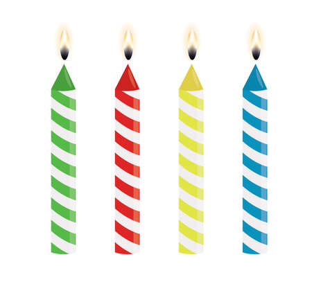 Set of birthday candles, vector