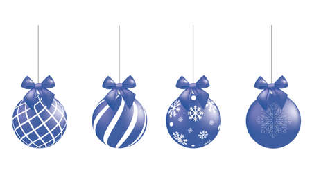Blue Christmas balls set. vector  イラスト・ベクター素材