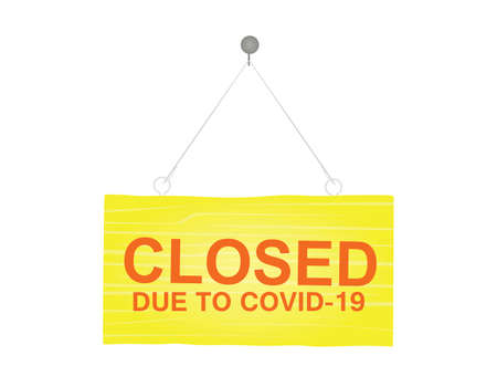 Closed due to covid-19 sign. vector