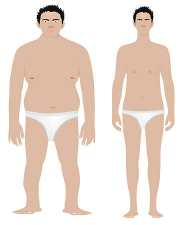 Fat and skinny man. vector 矢量图像