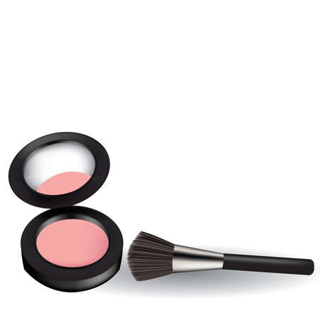 Pink blush with brush, vector