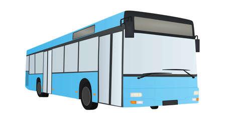 Blue city bus. vector illustration