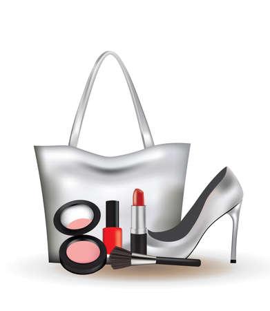Woman set. bag, shoes and cosmetics. vector illustration 矢量图像