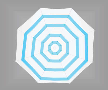 Blue and white sun umbrella. vector illustration