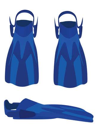 Blue swimming fins. vector illustration