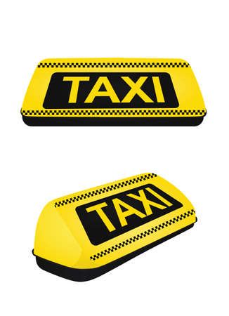 Taxi sign. front and side view. vector