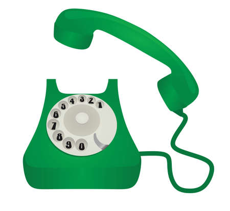 Green retro phone. vector illustration