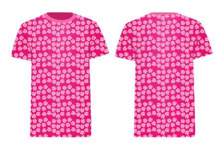 Pink t shirt leaf pattern. vector 矢量图像