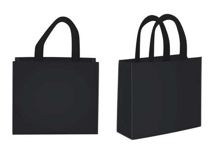Black shopping bag. vector illustration  イラスト・ベクター素材