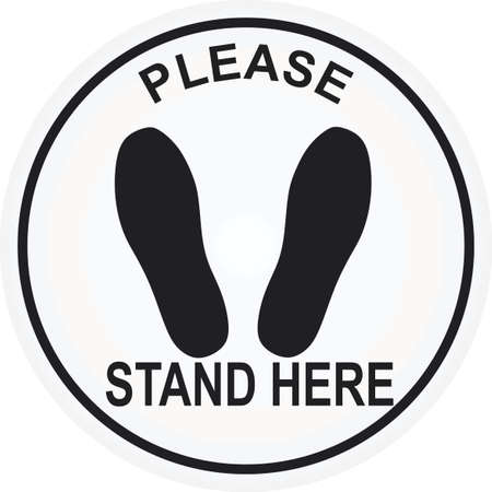 Please stand here floor sign. vector