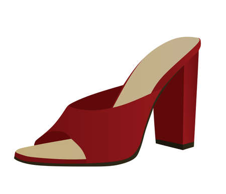 Red woman sandal. vector illustration