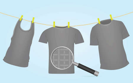 Clothes on rope in magnifying glass. vector  イラスト・ベクター素材