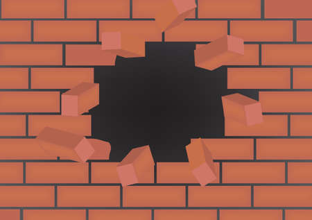 Broken brick wall. vector illustration
