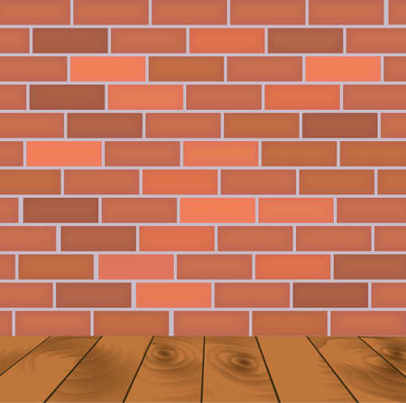 Brick wall and wooden floor, vector illustration