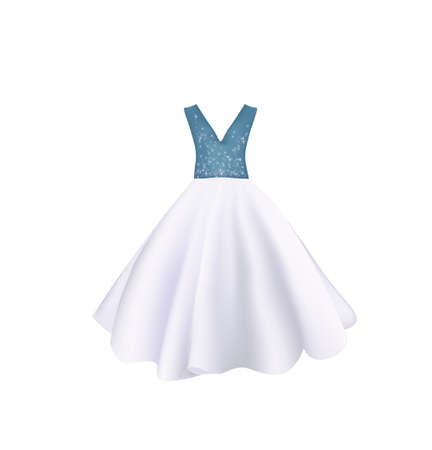 White and blue elegant evening dress, vector