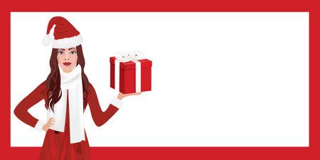 Christmas woman holding present frame. 矢量图像