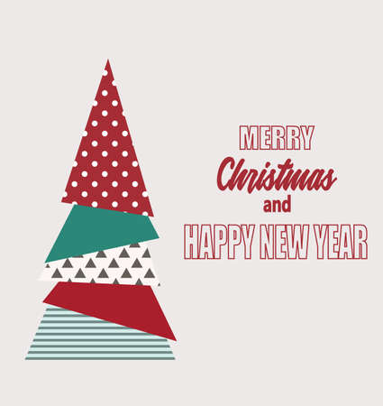 Merry Christmas tree card. vector  イラスト・ベクター素材