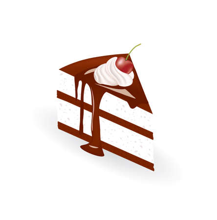 Chocolate piece of cake with cherry. vector illustration