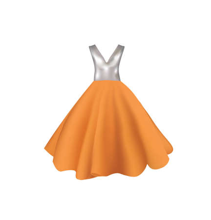 Orange and gray dress, vector