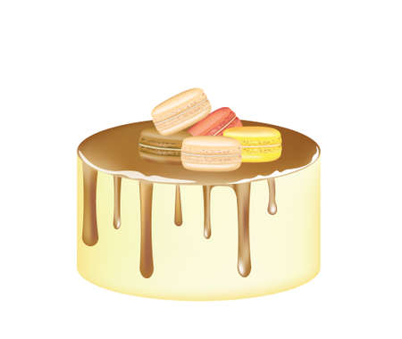 Golden cake with macaroons. vector  イラスト・ベクター素材