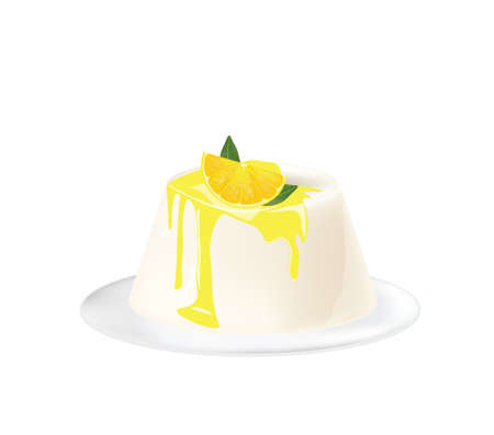 Panna cotta with lemon. vector  イラスト・ベクター素材