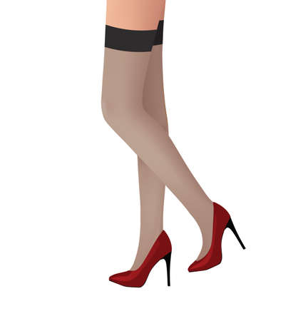 Female legs with stockings. vector illustration  イラスト・ベクター素材
