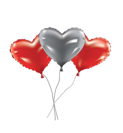 Heart foil balloons set, vector  イラスト・ベクター素材