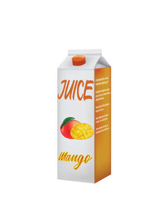 Mango juice pack. vector illustration