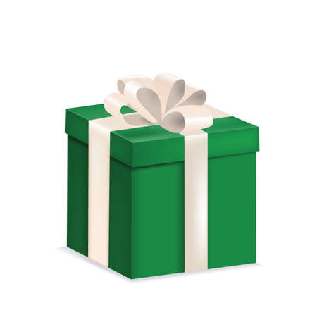 Green  gift box with a bow, vector