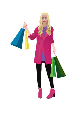 woman holding shopping bags. vector