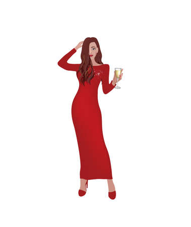 Woman holding champagne glass. vector 矢量图像