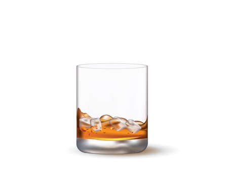 Whiskey glass with ice. vector  イラスト・ベクター素材