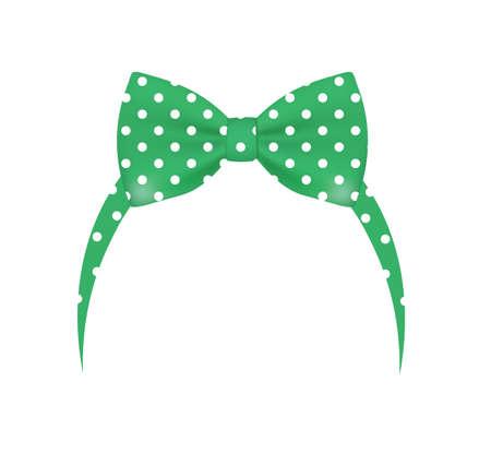 Green bow headband. vector illustration