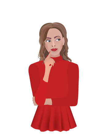 Woman in red blouse thinking. vector