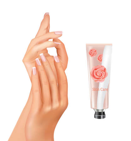 Woman hands with hand cream. vector illustration