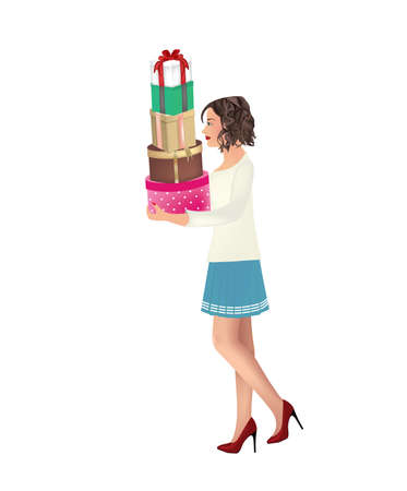 Woman holding presents. vector illustration