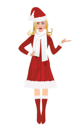 Christmas woman in red coat holding something, vector  イラスト・ベクター素材