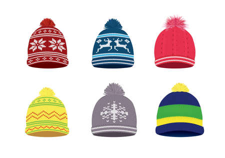 Knitted winter caps with Nordic pattern, vector