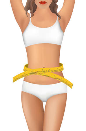 Woman body with measuring tape, vector