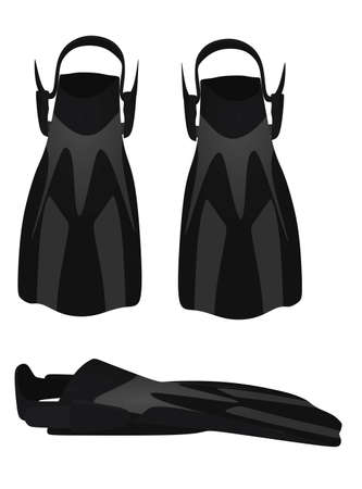 Black swimming fins. vector illustration  イラスト・ベクター素材