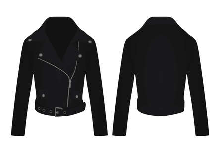 Black leather jacket. vector illustration