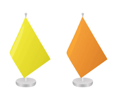 Yellow and orange table flag template. vector illustration  イラスト・ベクター素材