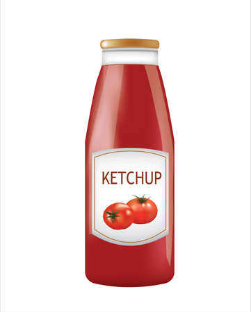 Glass ketchup bottle. vector illustration