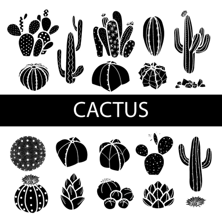 Set of isolated silhouette cactus and succulents. Hand drawn style. Vector illustration.